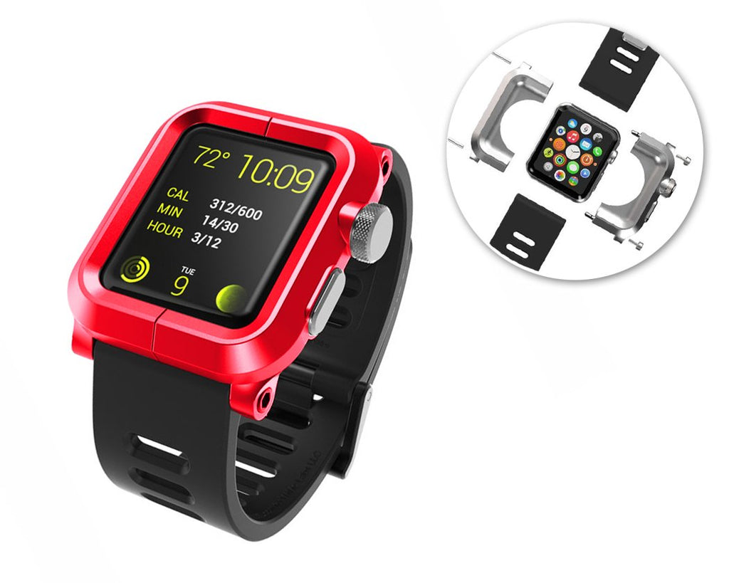 42mm Apple Watch Aluminum Case with Black Silicone Band - Red