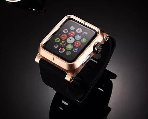 42mm Apple Watch Aluminum Case with Black Silicone Band - Gold