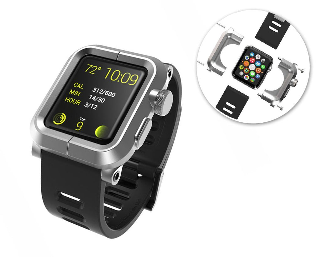 42mm Apple Watch Aluminum Case with Black Silicone Band - Silver