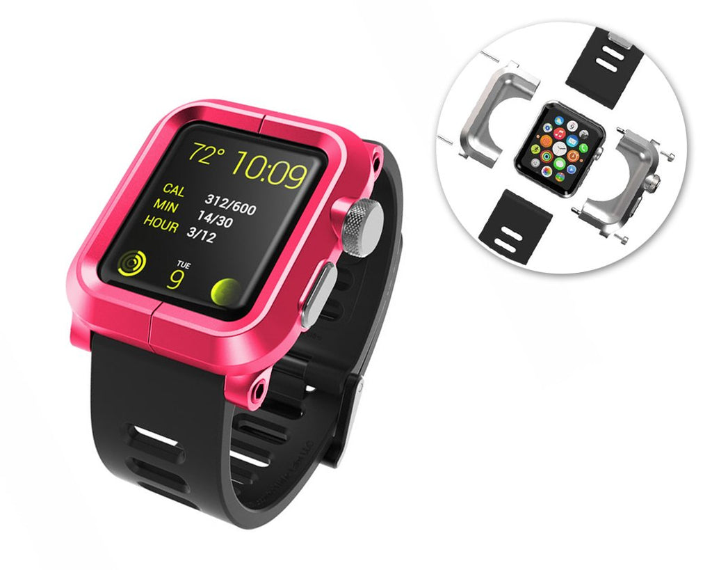 42mm Apple Watch Aluminum Case with Black Silicone Band - Magenta
