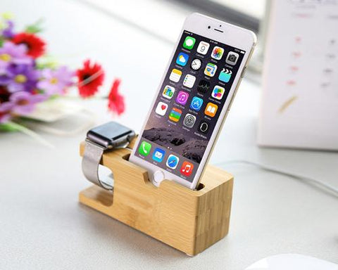 Bamboo 38mm / 42mm Apple Watch Charging Stand and Smartphone Holder