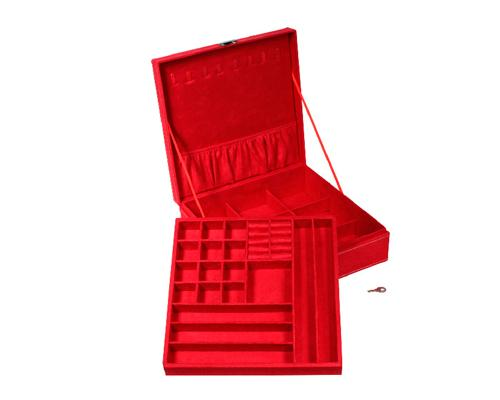 Two-Layer Jewelry Box Earrings Organizer Necklace Display Case - Red