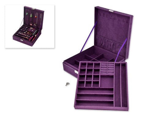 Two-Layer Jewelry Box Earrings Organizer Necklace Display Case-Purple