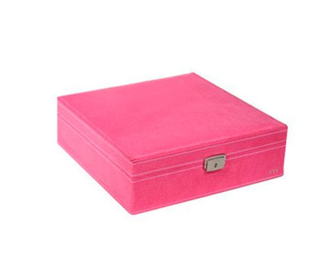 Two-Layer Jewelry Box Earrings Organizer Necklace Display Case-Magenta