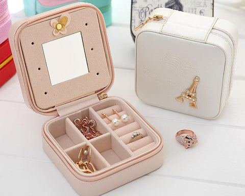 Eiffel Tower Small Travel Jewelry Box Organizer with Mirror - White