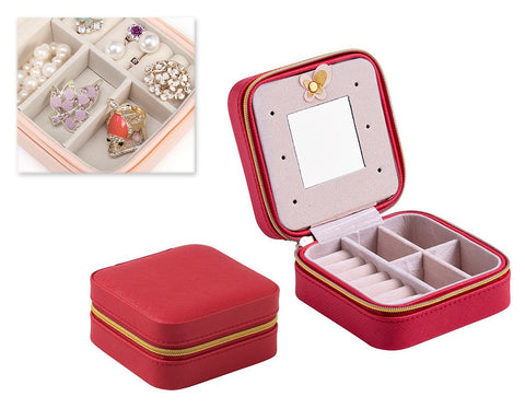 Simple and Small Travel Jewelry Box Organizer with Mirror - Red