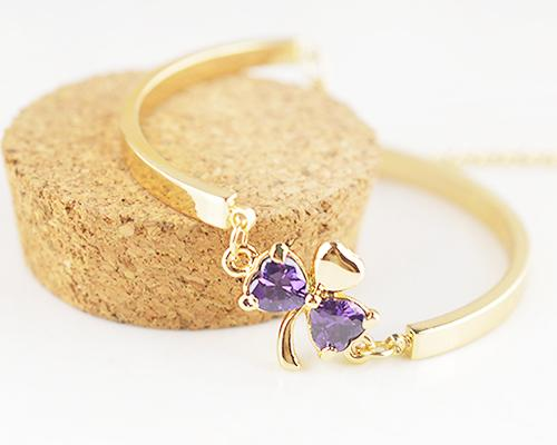 Lucky Three-leaf Clover Purple Crystal Bangle