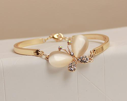 Opal Butterfly Crystal Bangle