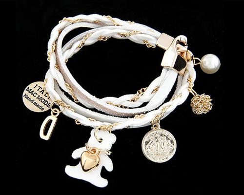Teddy Bear Pendant White Leather Bracelet