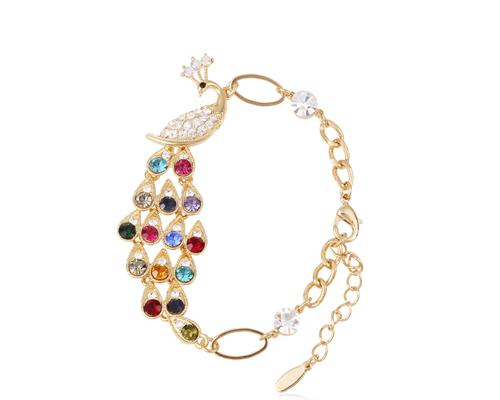 Colorful Peacock Crystal Bracelet