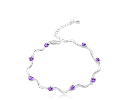 Starry Purple 925 Sterling Silver Crystal Bracelet