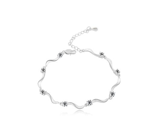 Starry White 925 Sterling Silver Crystal Bracelet