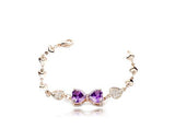 Adorned Bowknot Golden Purple Crystal Bracelet