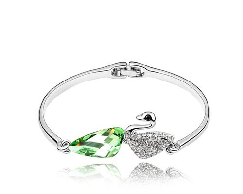 Swan Green Crystal Bangle