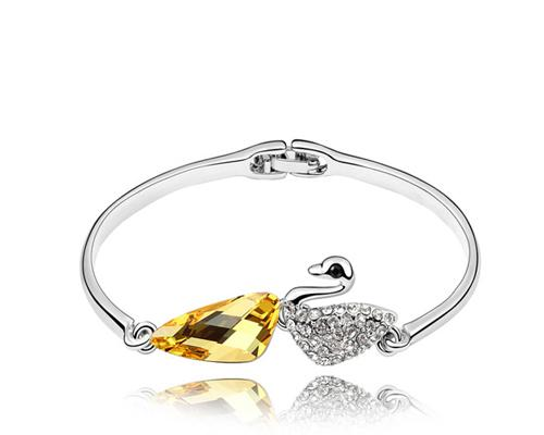 Swan Yellow Crystal Bangle