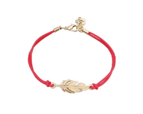 Lucky Feather Braided Bracelet - Red