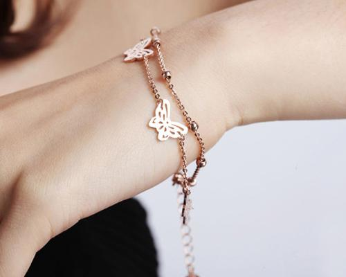 Chic Hollow Butterfly Crystal Gold Bracelet