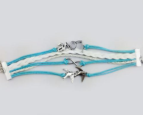 Vintage Series Leather Rope Infinity Bracelet - Blue