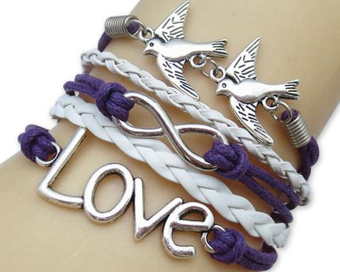 Vintage Series Leather Rope Infinity Bracelet - Purple