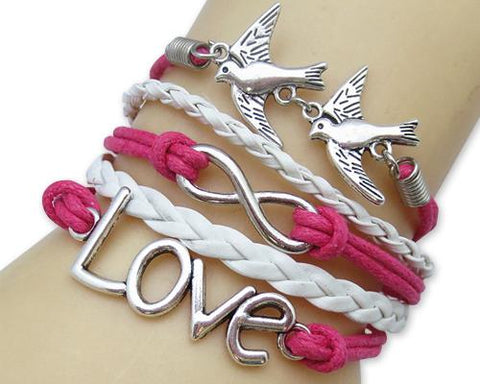 Vintage Series Leather Rope Infinity Bracelet - Pink