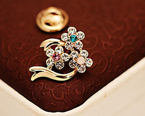 Three Flowers Crystal Brooch Pin