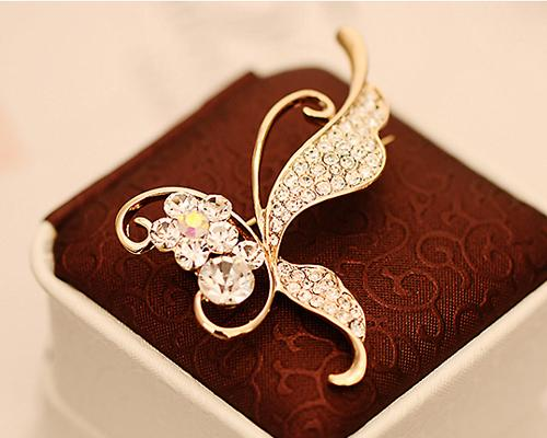 Butterfly on Flower Crystal Brooch Pin