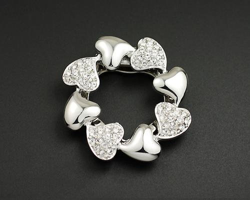 Rounded Heart Silver Crystal Brooch Pin