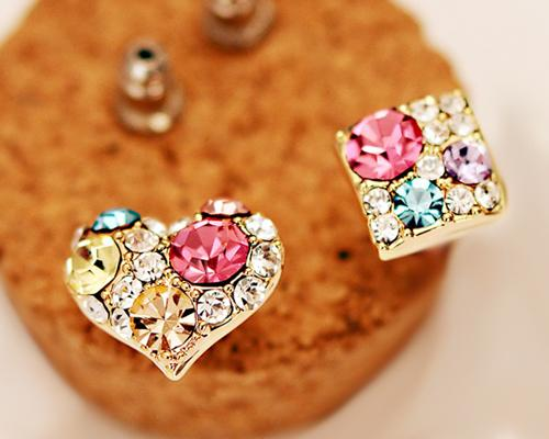 Heart and Square Stud Earrings for Women