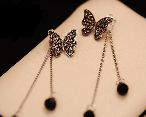 Butterfly Dangle Crystal Earrings for Women