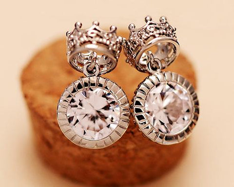Rome Crown Silver Crystal Earrings