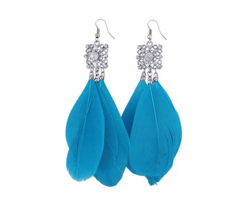 Bohemian Feather Blue Crystal Earrings
