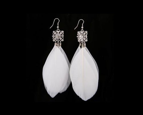 Bohemian Feather White Crystal Earrings