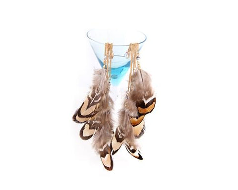 Bohemian Feather Brown Tassel Earrings