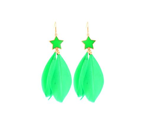 Colorful Feather Green Star Earrings