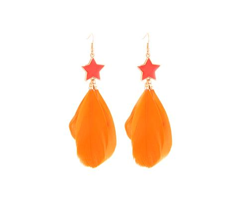 Colorful Feather Orange Star Earrings