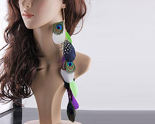 Bohemian Long Feather Green Earrings