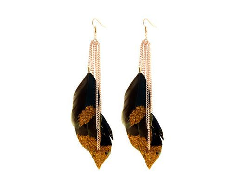 Sparkle Brown Bohemian Feather Tassel Earrings