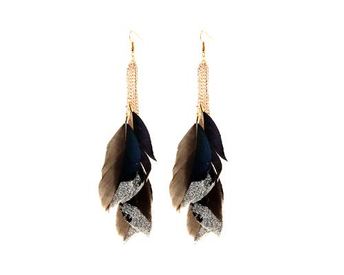 Sparkle Blue Bohemian Feather Tassel Earrings