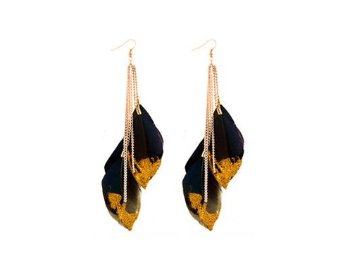 Sparkle Black Bohemian Feather Tassel Earrings