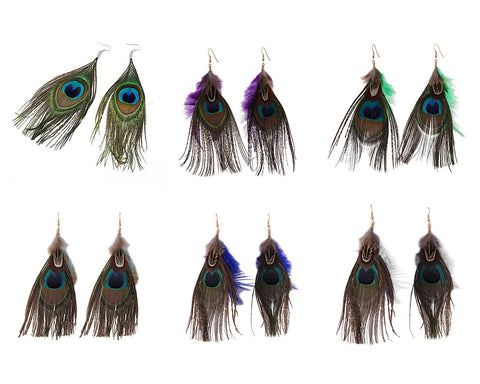 Bohemian Peacock Feather Earrings for Women