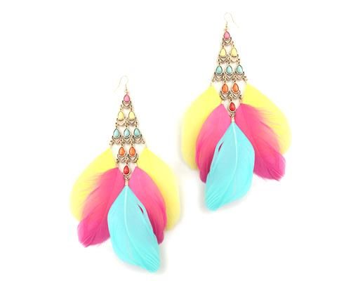 Colorful Dangling Feather Earrings
