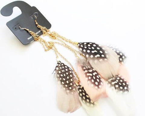 Dots Bohemian Long Feather Tassel Earrings