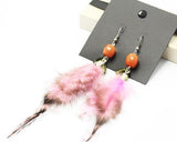 Bohemian Feather Pink Beaded Earrings