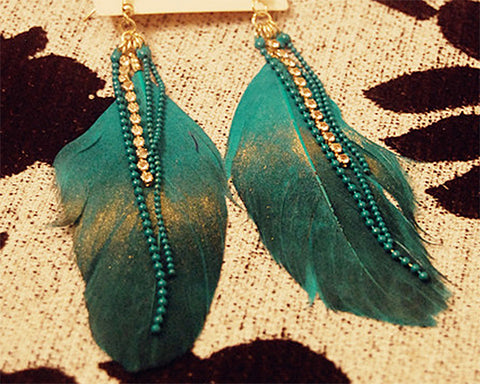 Bling Bohemian Feather Green Tassel Earrings