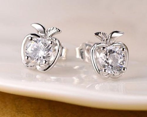 Apple Crystal Stud Earrings