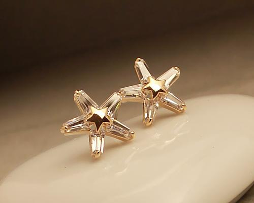 Star Snow Gold Crystal Earrings Studs for Women