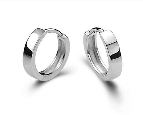 925 Sterling Silver Huggie Hoop Earrings 12mm