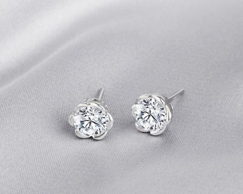 Rose Shaped 925 Sterling Silver Crystal Earrings Studs for Women