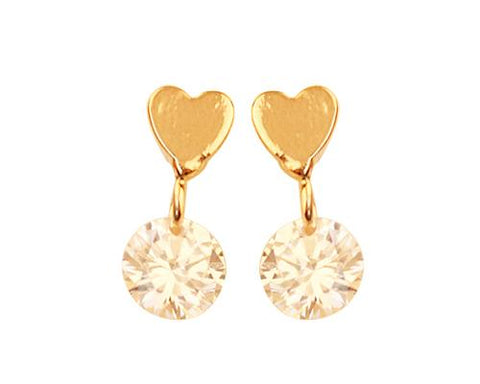 Love Heart Round Crystal Stud Earrings for Women
