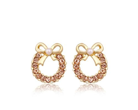 Sweet Ribbon Crystal Pearl Earrings Studs for Women